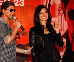 "Shahrukh  Khan and Priyanka Chopra  at Reliance Airport Metro Line,New Delhi Station to promote their film ""Don 2 ""."