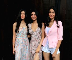 Shanaya Kapoor,Khushi Kapoor and Ananya Pandey arrive to attend actress Sonam Kapoor's birthday party at Anil Kapoor's house in Mumbai on June 9, 2019.