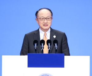 SHANGHAI, Nov. 5, 2018 - World Bank President Jim Yong Kim addresses the opening ceremony of the first China International Import Expo in Shanghai, east China, Nov. 5, 2018.