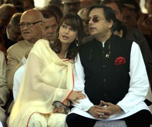 Shashi Tharoor and his wife Sunanda Pushkar. (Photo: IANS)