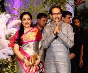 Shiv Sena chief Uddhav Thackeray along with his wife Rashmi Thackeray at the wedding reception of actress Sonam Kapoor and businessman Anand Ahuja in Mumbai on May 8, 2018.