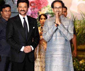 Shiv Sena chief Uddhav Thackeray and actor Anil Kapoor at the wedding reception of actress Sonam Kapoor and businessman Anand Ahuja in Mumbai on May 8, 2018.
