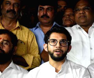 Shiv Sena leader Aditya Thackeray briefs media