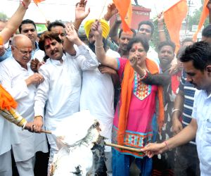 Shiv Sena demonstration against suspension of Amaranth Yatra