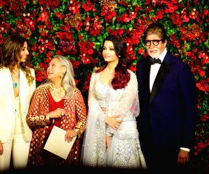 Shweta Bachchan-Nanda, Jaya Bachchan, Amitabh Bachchan and Aishwarya Rai Bachchan arrive at Ranveer Singh and Deepika Padukone's wedding reception at Grand Hyatt hotel in Mumbai on Dec 1, ...