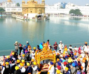 Religious procession at the Golden Temple