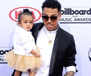 Singer Chris Brown with her daughter Royalty Brown.