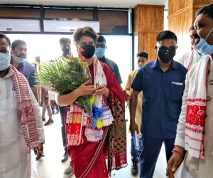 Smt Priyanka Gandhi, AICC GS,  arrives at Jorhat Airport