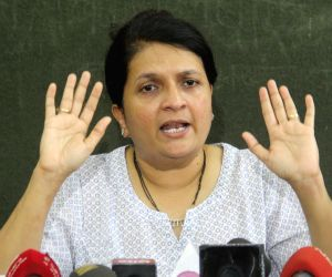 Anjali Damania speaks during a press conference