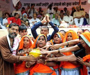Yogendra Yadav during a Kisan Rally