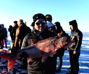 CHINA JILIN CHAGAN LAKE WINTER FISHING