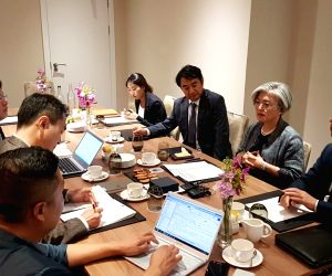 South Korean Foreign Minister Kang Kyung-wha (2nd from R) meets South Korean correspondents in London on July 18, 2018. During the press meeting, Kang did not rule out the possibility of a ...