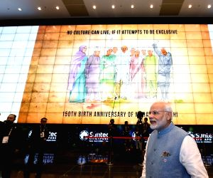 Spectacular LED display of Mahatma Gandhi's message as Prime Minister Narendra Modi arrives at the gala dinner being hosted by Singapore Prime Minister Lee Hsien Loong, in Singapore, on ...