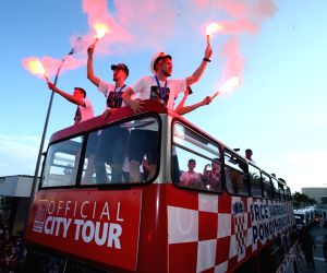 SPLIT, July 18, 2018 - Members of Croatian national football team react during welcome celebration in Split, Croatia, July 17, 2018. Croatia won the second place at the 2018 FIFA World Cup in Russia.