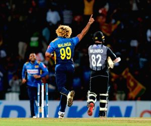 Sri Lanka's Lasith Malinga celebrates fall of a wicket during the 1st T20I match between Sri Lanka and New Zealand at Pallekele International Cricket Stadium in Kandy, Sri Lanka, on Sept 1, ...