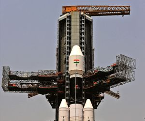 GSLV Mk-III being rolled out from the Vehicle Assembly Building to the launch pad