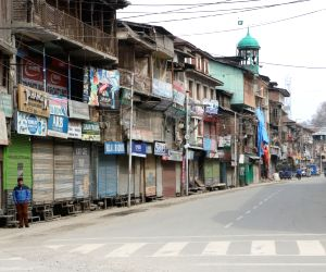 Srinagar: Shops remain closed in Srinagar during a shutdown was called by the Joint Resistance Leadership (JRL), a separatist conglomerate headed by Syed Ali Geelani, Mirwaiz Umer Farooq and Jammu and Kashmir Liberation Front (JKLF) chairman Muhammad