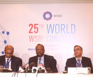 State Bank of India (SBI) Chairman Rajnish Kumar addresses a press conference at the 25th WSBI (World Savings and Retail Banking Institute) World Congress in New Delhi, on Nov 15, 2018. ...