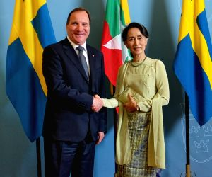 SWEDEN-STOCKHOLM-PM-MYANMAR-STATE COUNSELOR-MEETING