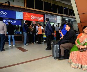 Stranded passengers at Baghdogra Airport