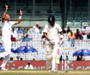 Stuart Broad of England celebrates fall of  Parthiv Patel's wicket on Day  3 of the fifth test match between India and England at M A Chidambaram Stadium in Chennai, on Dec 18, 2016.