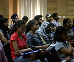 Students attending an open house discussion on admission process at Delhi University