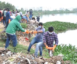 GHMC Cleanliness drive at Hussain Sagar lake