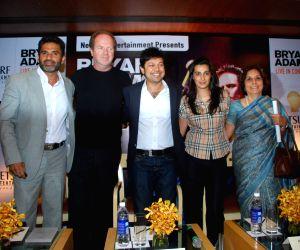 Sunil and Mana Shetty at Bryan Adams live concert press meet at Grand Hyatt, Mumbai.