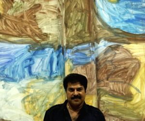 : Superstar Mammootty visited Aspinwall House, one of the major venues of the Kochi Muziris Biennale, Kerala. (Photo:IANS).