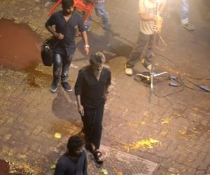 "Rajinikanth during Shooting of Tamil gangster drama ""Kaala"
