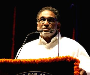 Supreme Court Judge Justice J. Chelameswar addresses during a public lecture organised by the High Court Bar Association (HCBA) Nagpur at Dr Vasantrao Deshpande Hall in Nagpur on April 14, ...