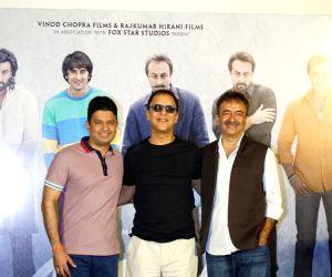 "Teaser launch of Sanjay Dutt's biopic ""Sanju"" - Bhushan Kumar, Vidhu Vinod Chopra and Rajkumar Hirani"