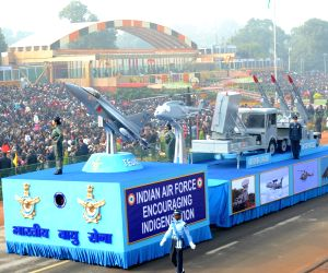 Tableau of Indian Air Force during Republic Day Parade 2018 on Rajpath in New Delhi Jan 26, 2018.