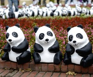 Paper-made pandas are displayed at the Taipei International Flora Expo Park in Taipei