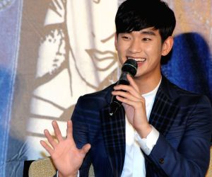 Kim Soo Hyun during a press conference in Taipei