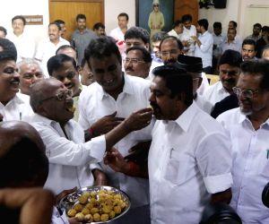 AIADMK in lead in Vikravandi and Nanguneri seats, Edappadi K. Palaniswami celebrates with party workers
