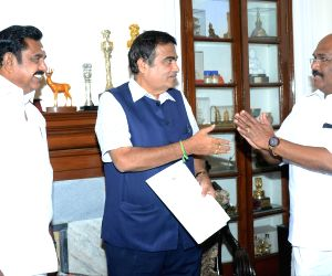 Tamil Nadu Chief Minister Edappadi K. Palaniswami meets Union Minister for Road Transport and Highways and Micro, Small and Medium Enterprises Nitin Gadkari, in New Delhi on June 15, 2019.