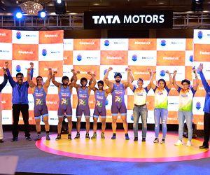 Tata Motors' Commercial Vehicle Business Unit's President Girish Wagh and wrestlers Sushil Kumar, Yogeshwar Dutt, Sakshi Malik, Bajrang Punia, Sandeep Tomar, Pooja Dhanda, Geeta Phogat and ...
