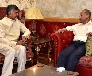 TDP President N. Chandrababu Naidu calls on Andhra Pradesh Governor E. S. L. Narasimhan, in Hyderabad on June 7, 2019.