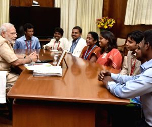 "Team of students involved in building satellite ""Sathyabamasat"" calls on PM Modi"
