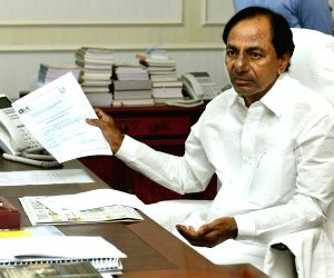 KCR during a review meeting