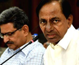 K. Chandrashekar Rao addresses at a review meeting