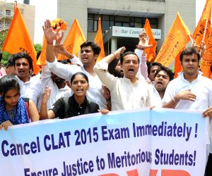 The activists of Akhil Bharatiya Vidhyarthi Parishad (ABVP) stage a demonstration outside the Bar Council of India demanding cancellation of Common Law Admission Test (CLAT) Exam 2015 in ...