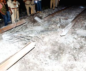 Train engine derails as Maoists blow up rail track in Bihar