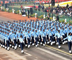 The Indian Air Force Marching Contingent on Rajpath during Republic Day Parade 2018 in New Delhi Jan 26, 2018.