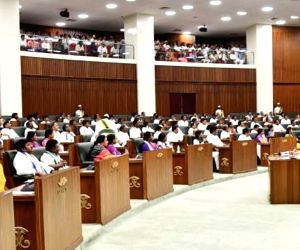 The leader of opposition in Andhra Pradesh Legislative Assembly and TDP MLA N. Chandrababu Naidu on the second day of the first session of the new state Assembly, in Amaravati on June 13, ...