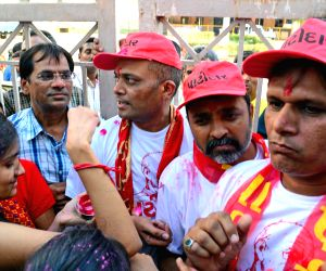 The three Patidar leaders who were given bail by Gujarat High Court in sedition case, were released from Sabarmati Jail in Ahmedabad, on April 29, 2016.