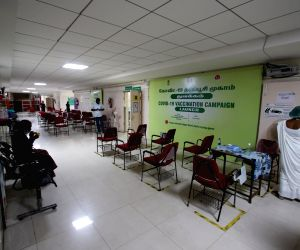 The vaccination center at the Rajiv Gandhi General Hospital has a deserted look as the government has ordered the vaccination for above 45 years and the frontline workers as the vaccination stock is less in chennai