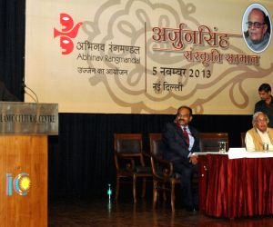 The Vice President Mohd. Hamid Ansari addressing after presenting the Arjun Singh Cultural Award to M.A Baby at a function in New Delhi on October 05, 2013.