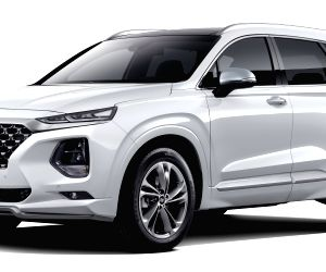 """This photo provided by Hyundai Motor Co. on June 4, 2018, shows the special model of its Santa Fe SUV, dubbed """"the Inspiration,"""" which hit local showrooms the same day."""